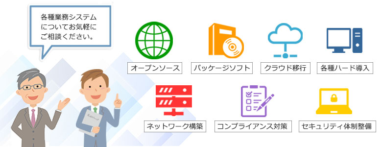 各種ITソリューション、幅広い分野にわたってコンサルティング